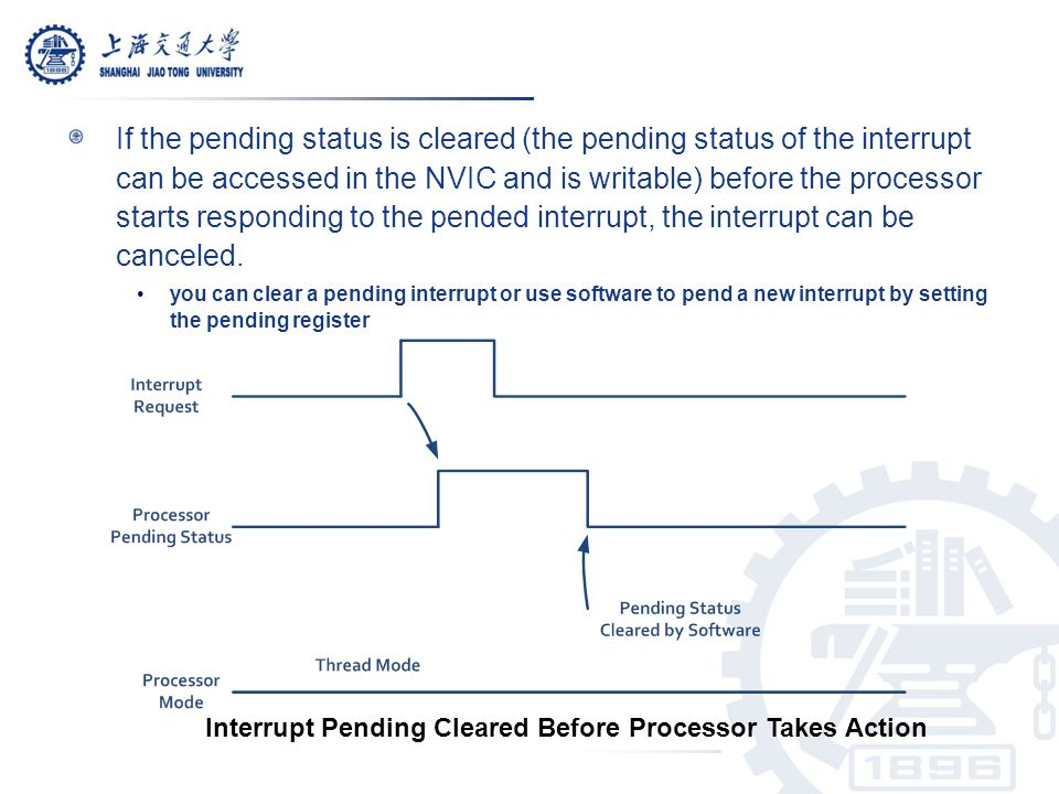 If the pending status is cleared (the pending status of the interrupt can be accessed in the NVIC and is writable) before the processor starts responding to the pended interrupt, the interrupt can be canceled.