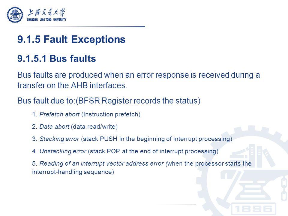 9.1.5 Fault Exceptions 9.1.5.1 Bus faults