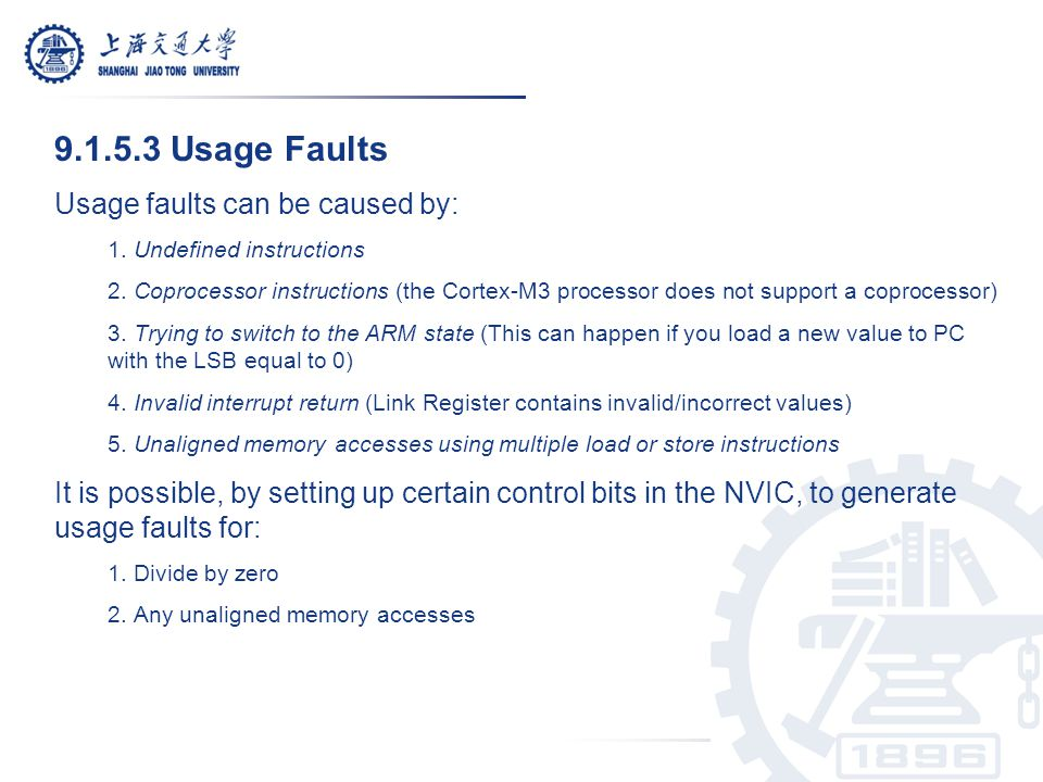 9.1.5.3 Usage Faults Usage faults can be caused by: