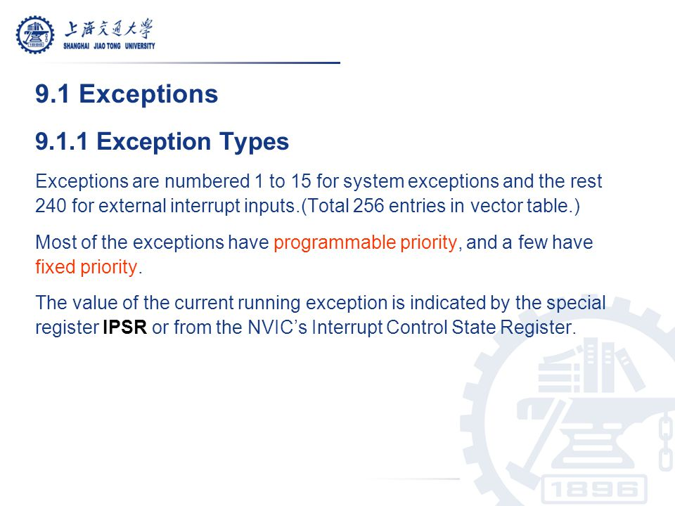 9.1 Exceptions 9.1.1 Exception Types
