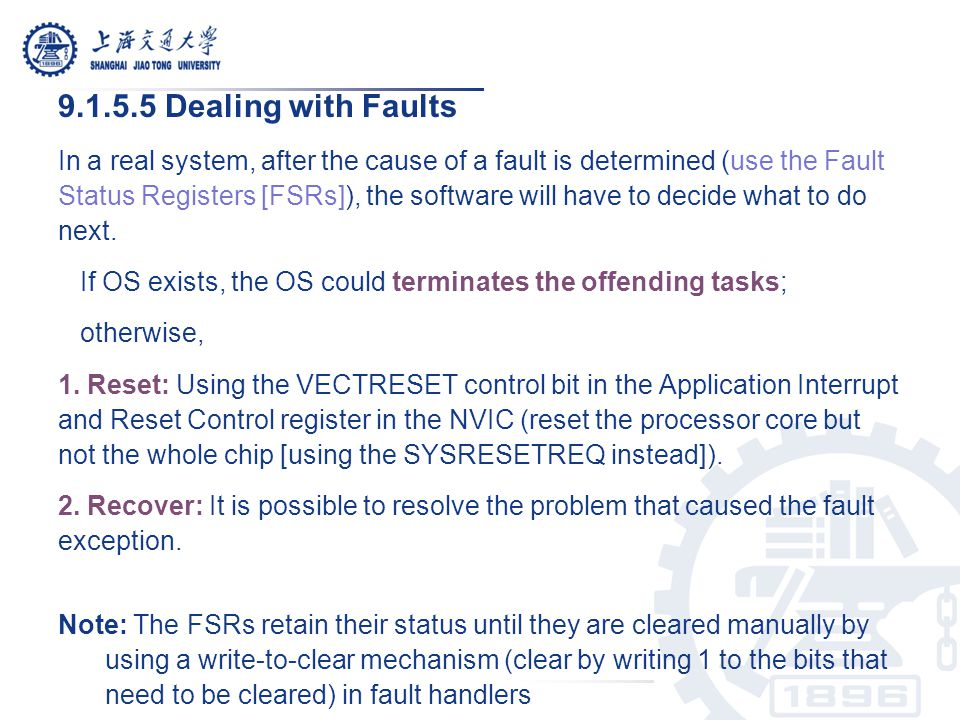 9.1.5.5 Dealing with Faults