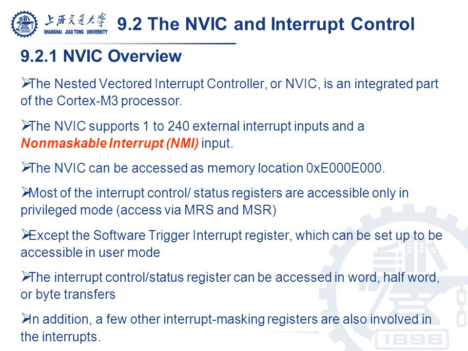 9.2 The NVIC and Interrupt Control