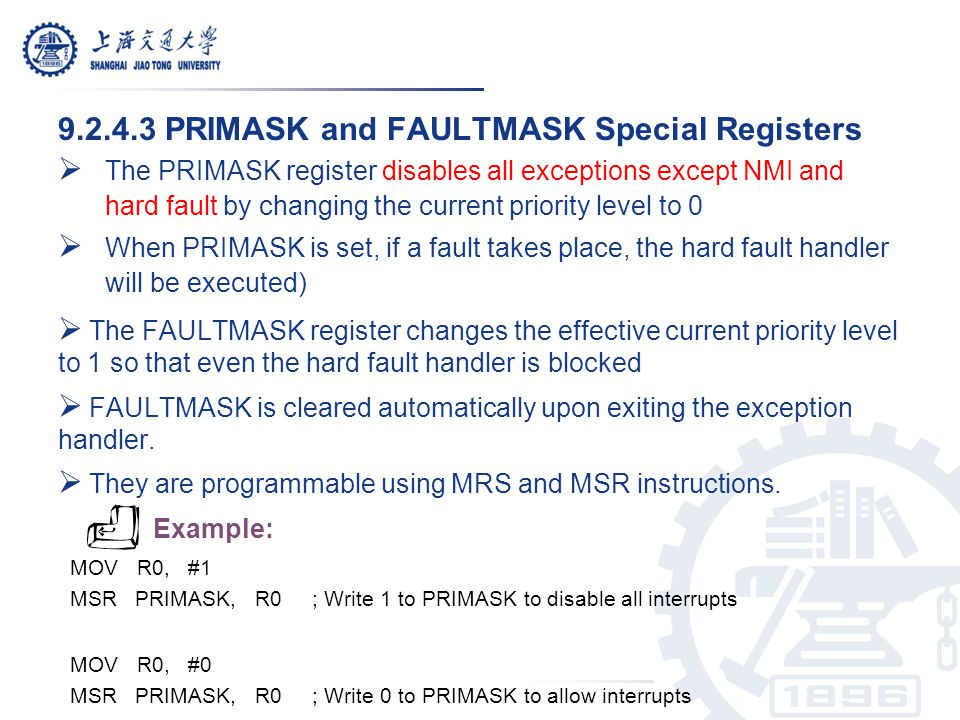 9.2.4.3 PRIMASK and FAULTMASK Special Registers