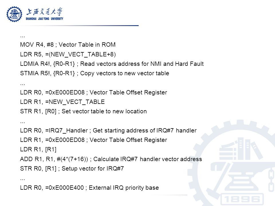 ... MOV R4, #8 ; Vector Table in ROM. LDR R5, =(NEW_VECT_TABLE+8) LDMIA R4!, {R0-R1} ; Read vectors address for NMI and Hard Fault.