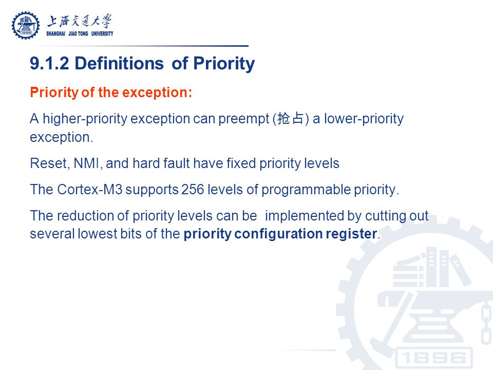9.1.2 Definitions of Priority