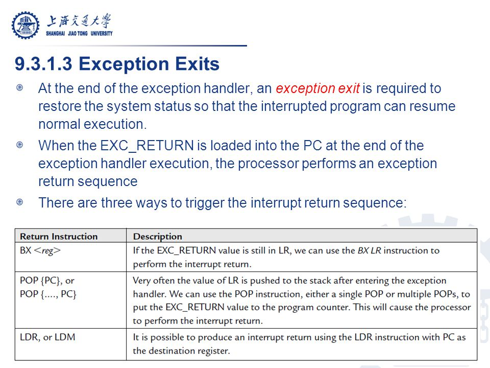 9.3.1.3 Exception Exits