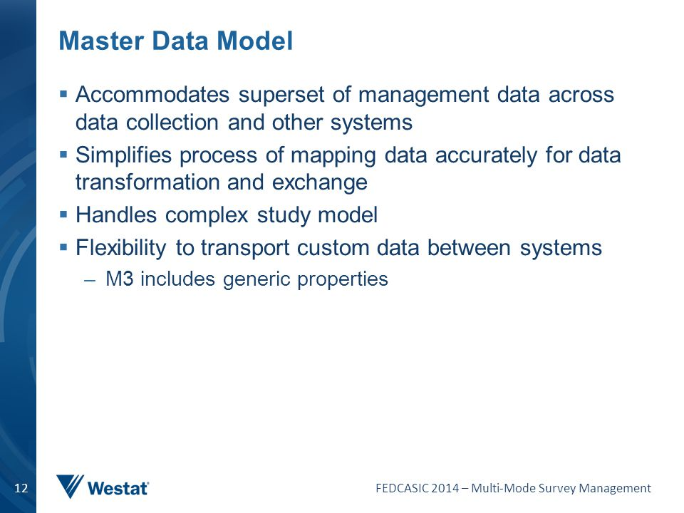 Master Data Model Accommodates superset of management data across data collection and other systems.