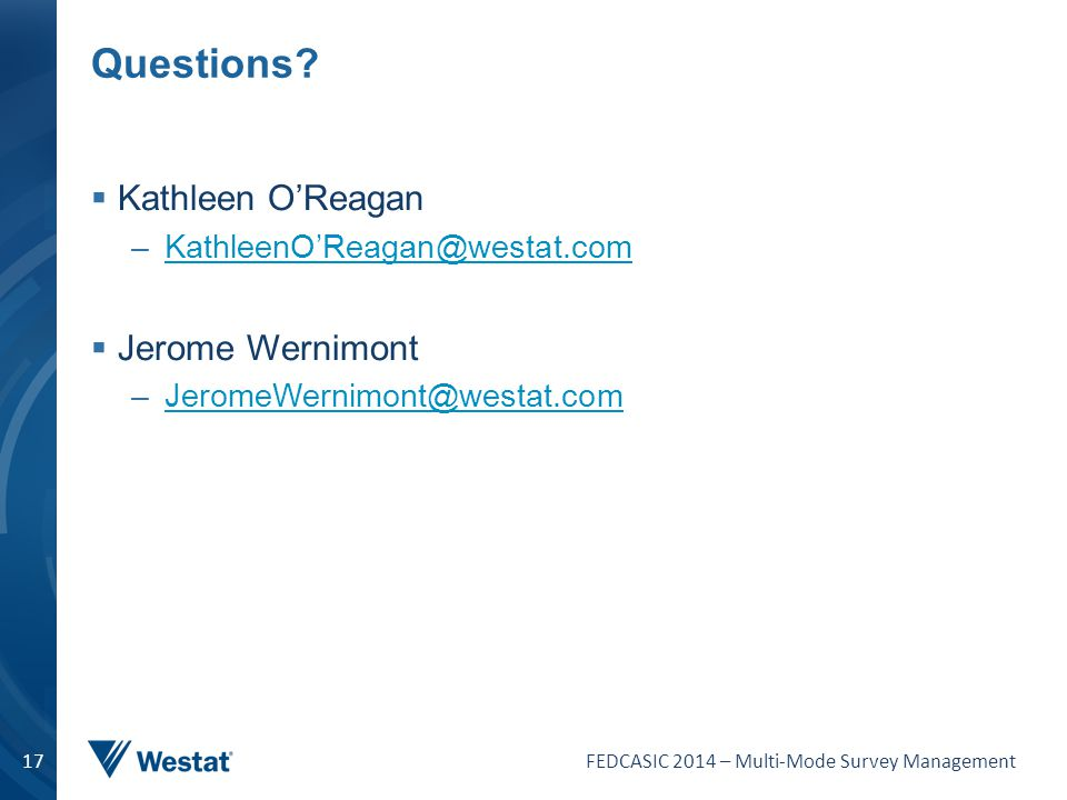 Questions Kathleen O'Reagan Jerome Wernimont