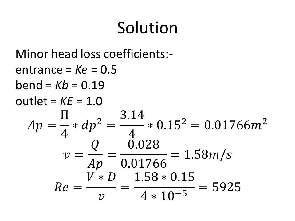 Solution Minor head loss coefficients:- entrance = Ke = 0.5