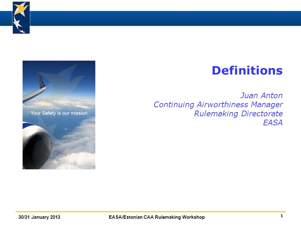 Definitions Juan Anton Continuing Airworthiness Manager Rulemaking Directorate EASA