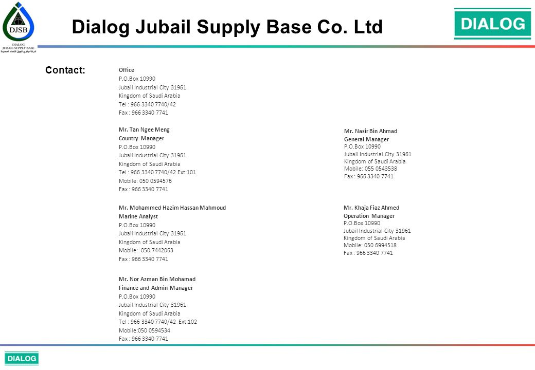 Dialog Jubail Supply Base Co. Ltd