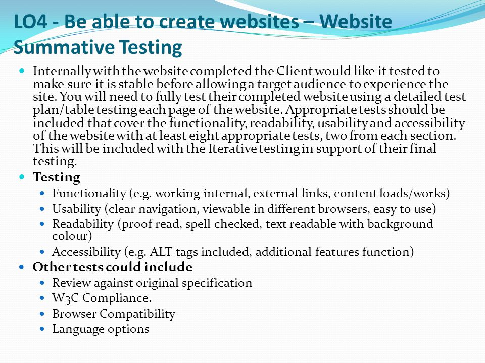 LO4 - Be able to create websites – Website Summative Testing
