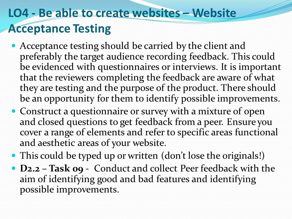 LO4 - Be able to create websites – Website Acceptance Testing