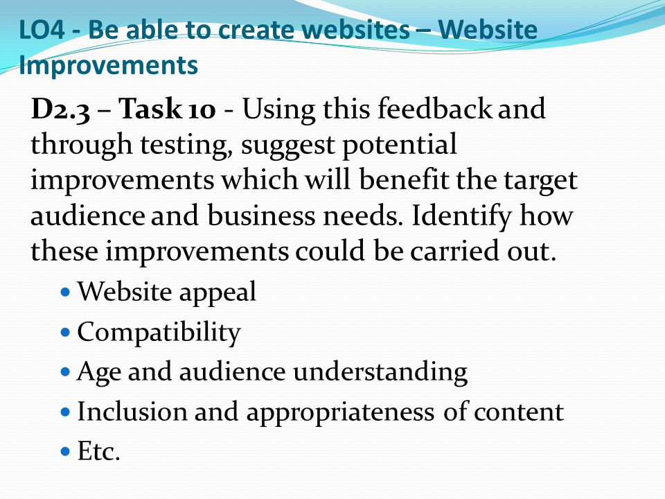 LO4 - Be able to create websites – Website Improvements