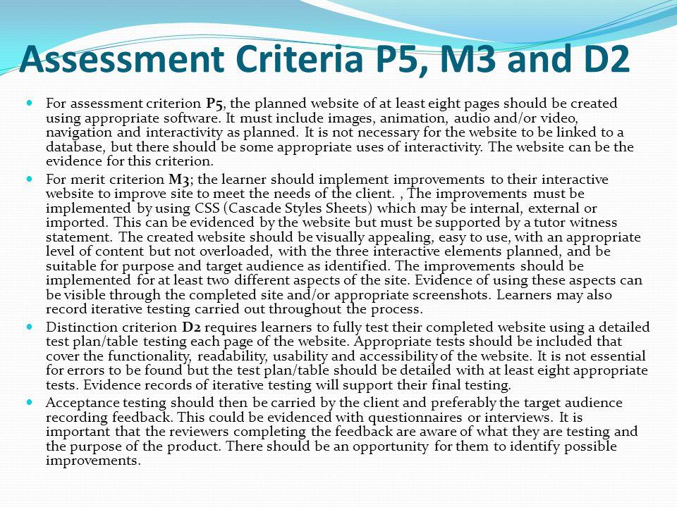 Assessment Criteria P5, M3 and D2