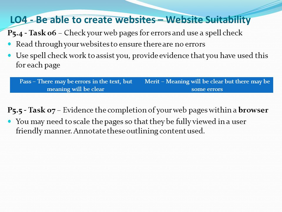 LO4 - Be able to create websites – Website Suitability