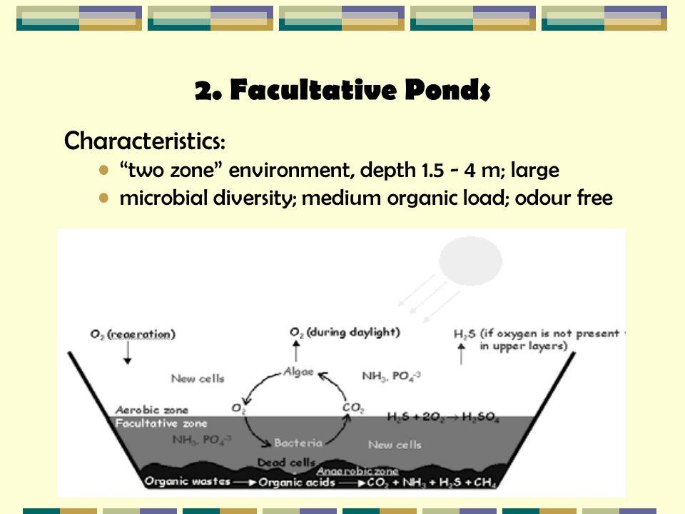 2. Facultative Ponds Characteristics: