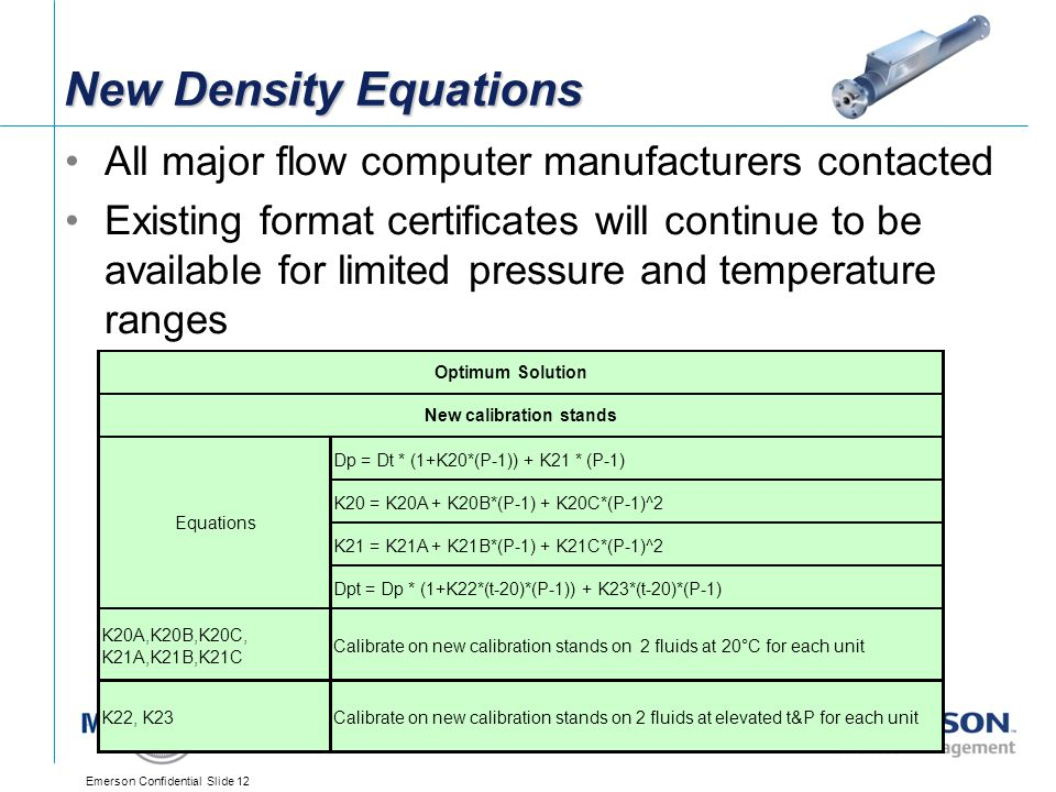 New Density Equations All major flow computer manufacturers contacted