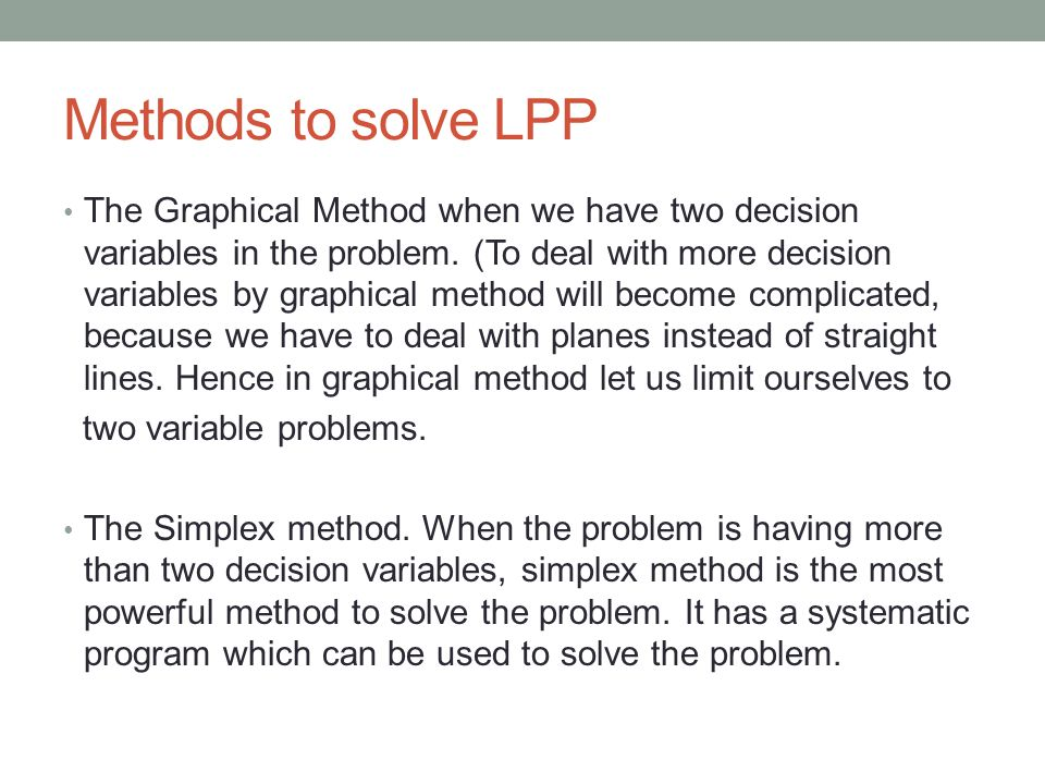 Methods to solve LPP