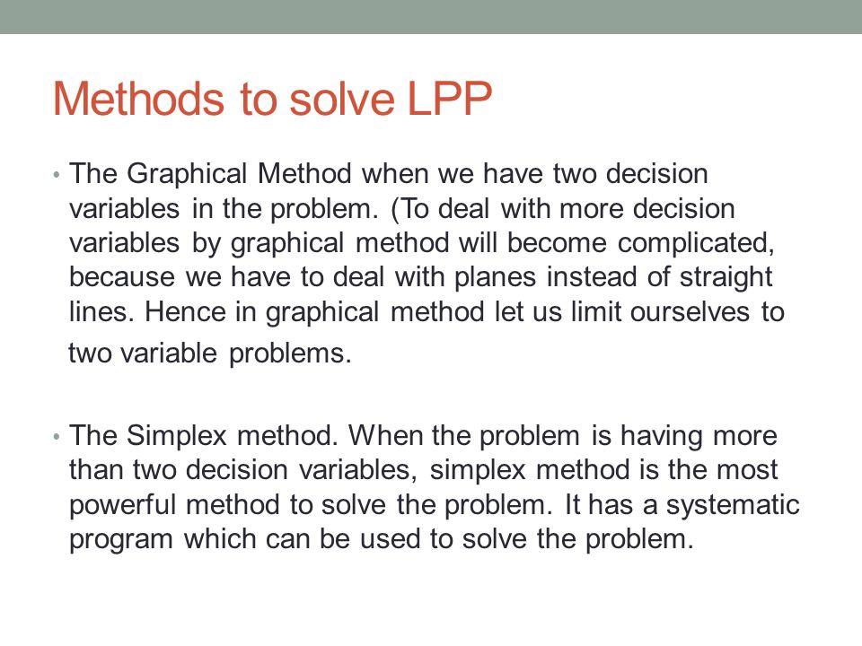 Methods to solve LPP