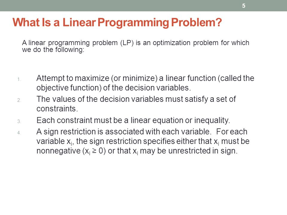 What Is a Linear Programming Problem