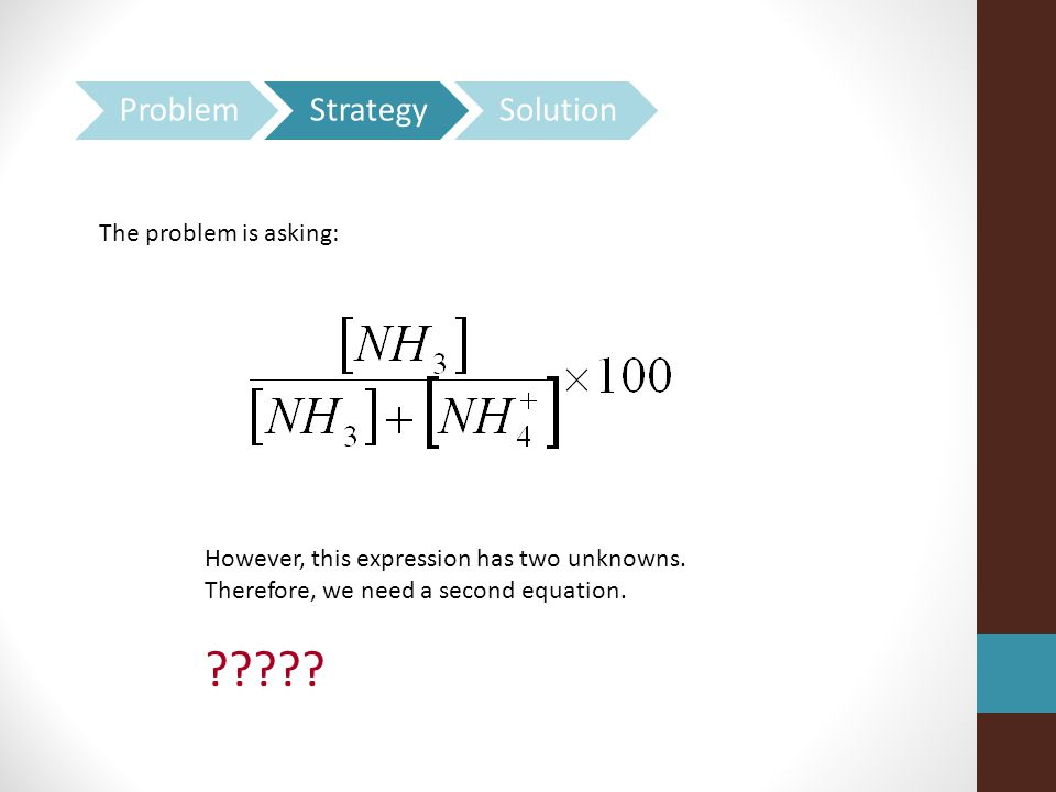 Problem Strategy Solution The problem is asking: