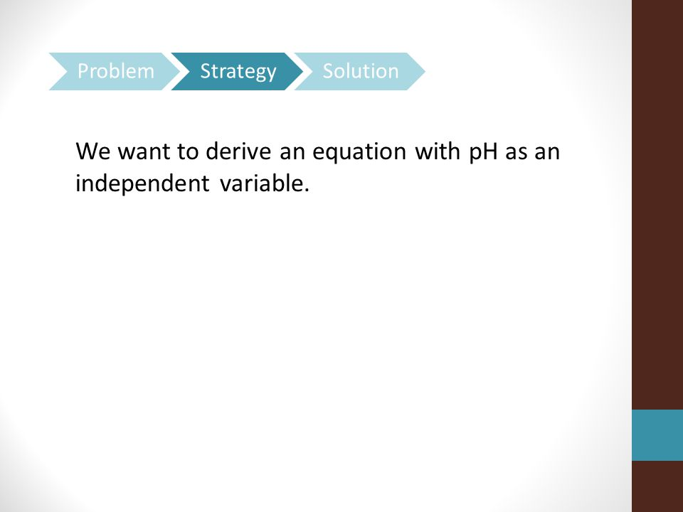 We want to derive an equation with pH as an independent variable.