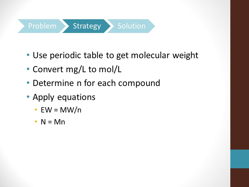 Use periodic table to get molecular weight Convert mg/L to mol/L