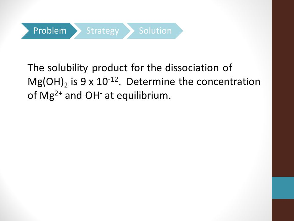 The solubility product for the dissociation of