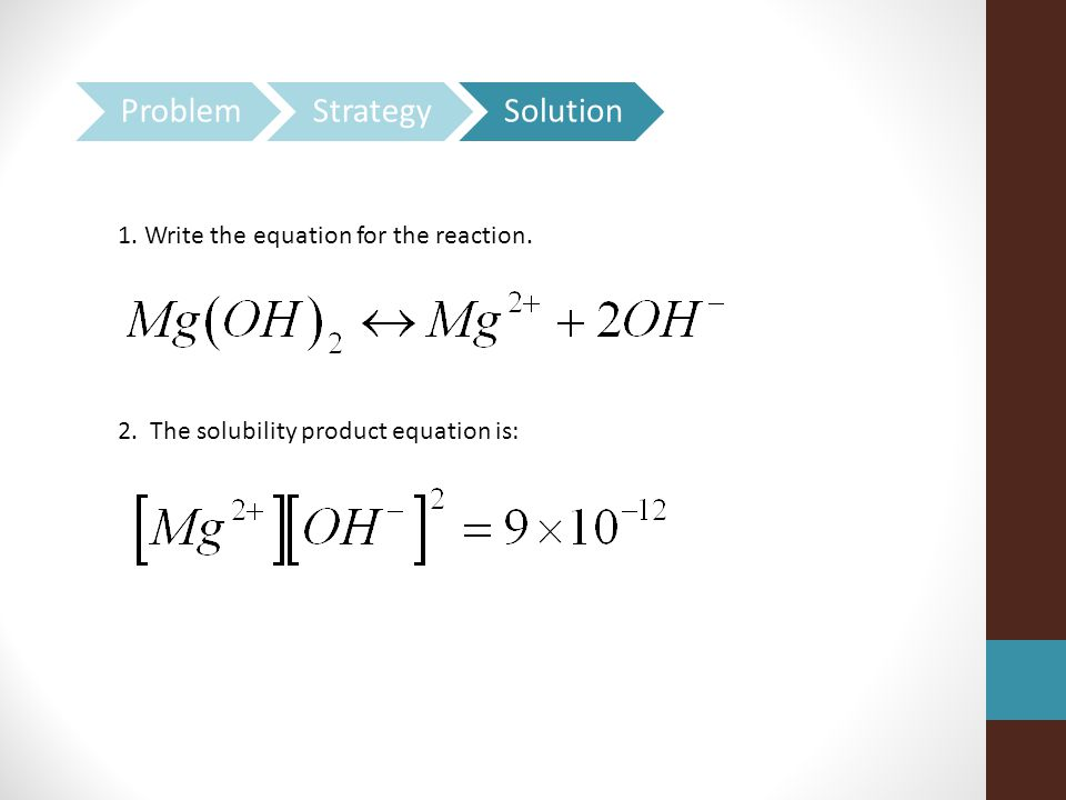 Problem Strategy Solution 1. Write the equation for the reaction.
