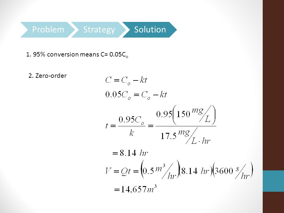 Problem Strategy Solution 1. 95% conversion means C= 0.05Co