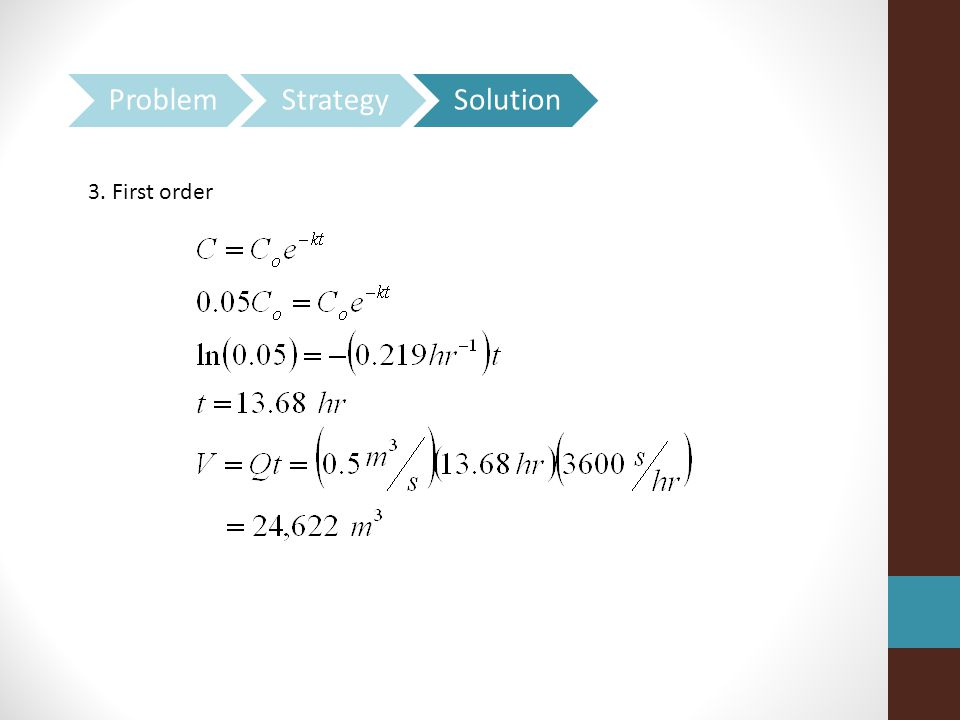 Problem Strategy Solution 3. First order