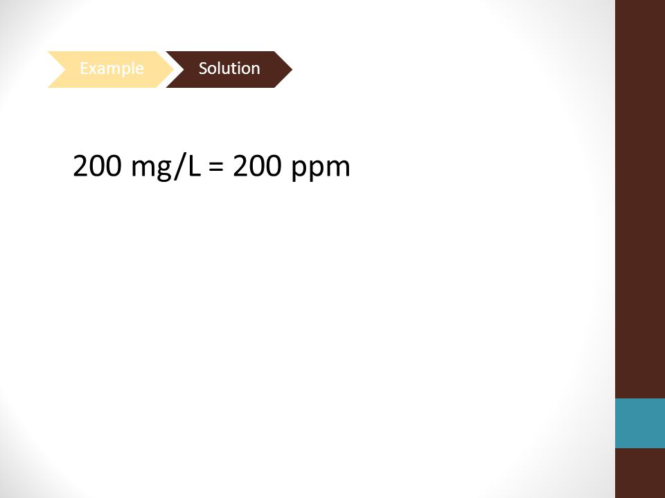 Example Solution 200 mg/L = 200 ppm