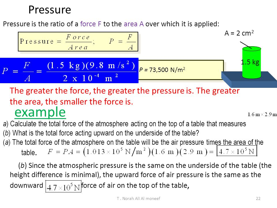 Pressure Pressure is the ratio of a force F to the area A over which it is applied: A = 2 cm2. 1.5 kg.