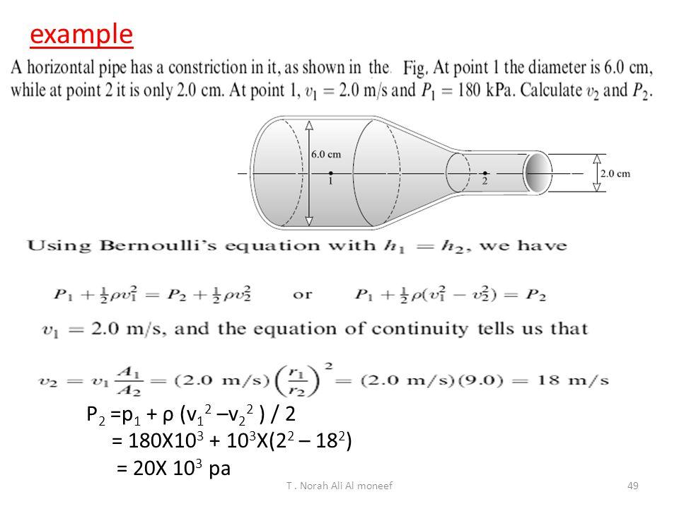 example P2 =p1 + ρ (v12 –v22 ) / 2 = 180X103 + 103X(22 – 182)