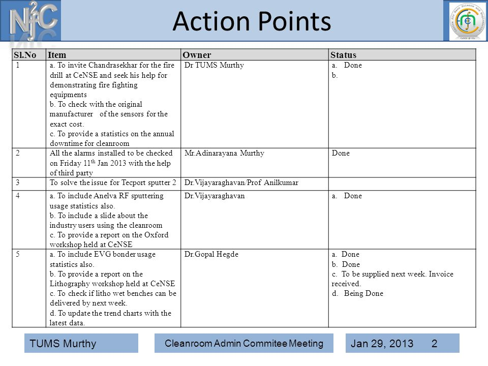Cleanroom Admin Commitee Meeting