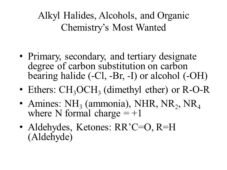 Alkyl Halides, Alcohols, and Organic Chemistry's Most Wanted