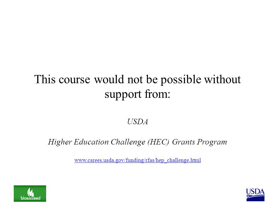 This course would not be possible without support from: