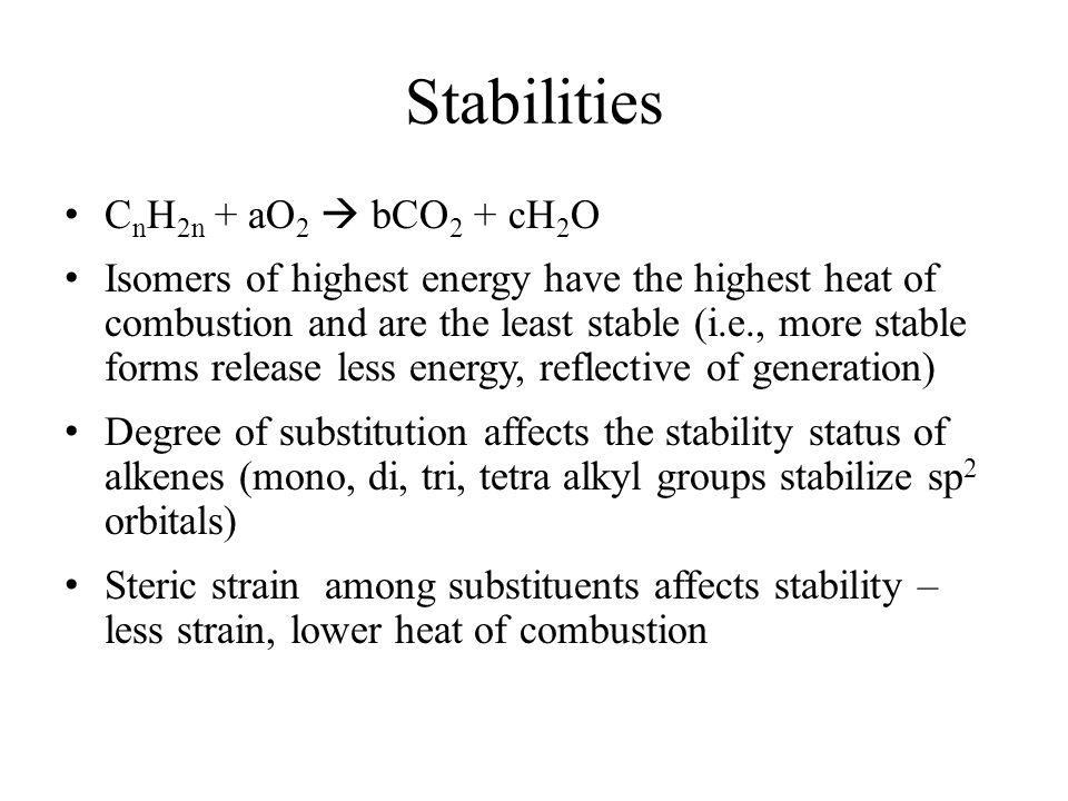 Stabilities CnH2n + aO2  bCO2 + cH2O