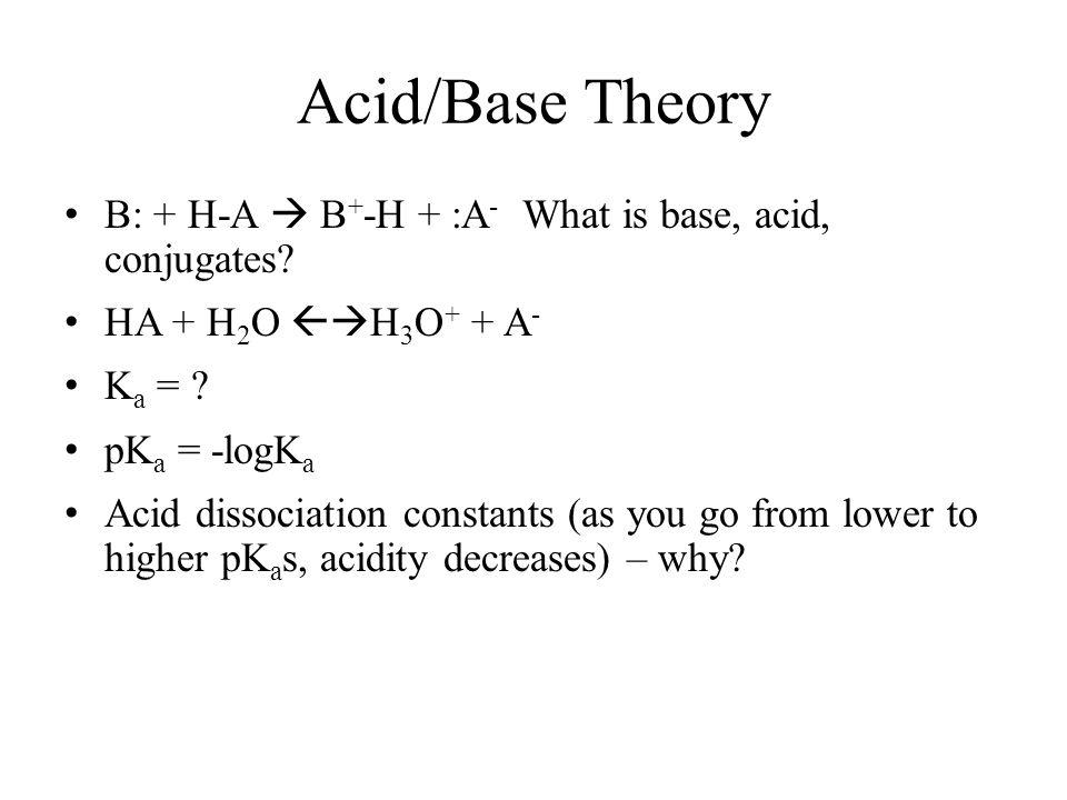 Acid/Base Theory B: + H-A  B+-H + :A- What is base, acid, conjugates