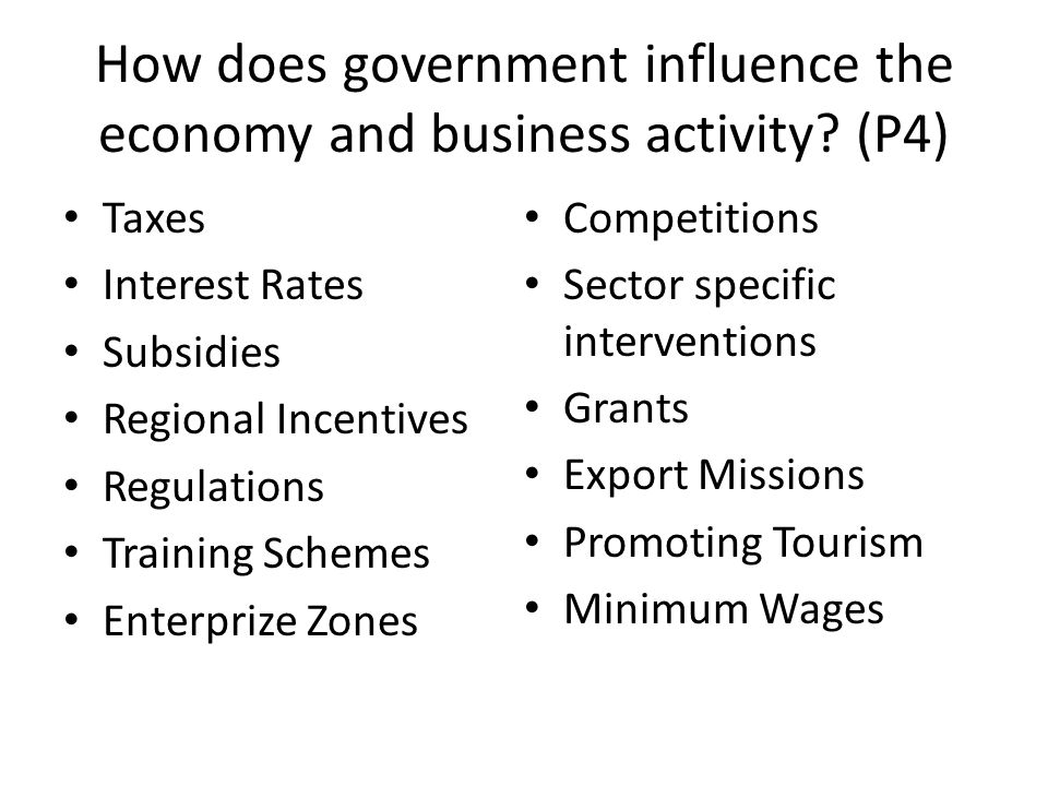 How does government influence the economy and business activity (P4)