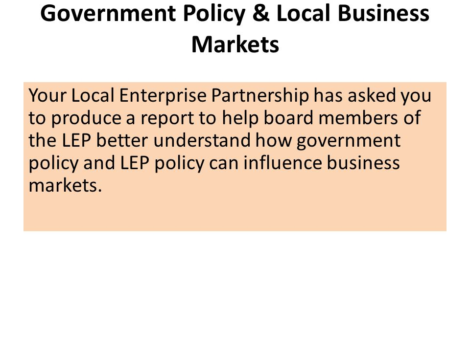 Government Policy & Local Business Markets
