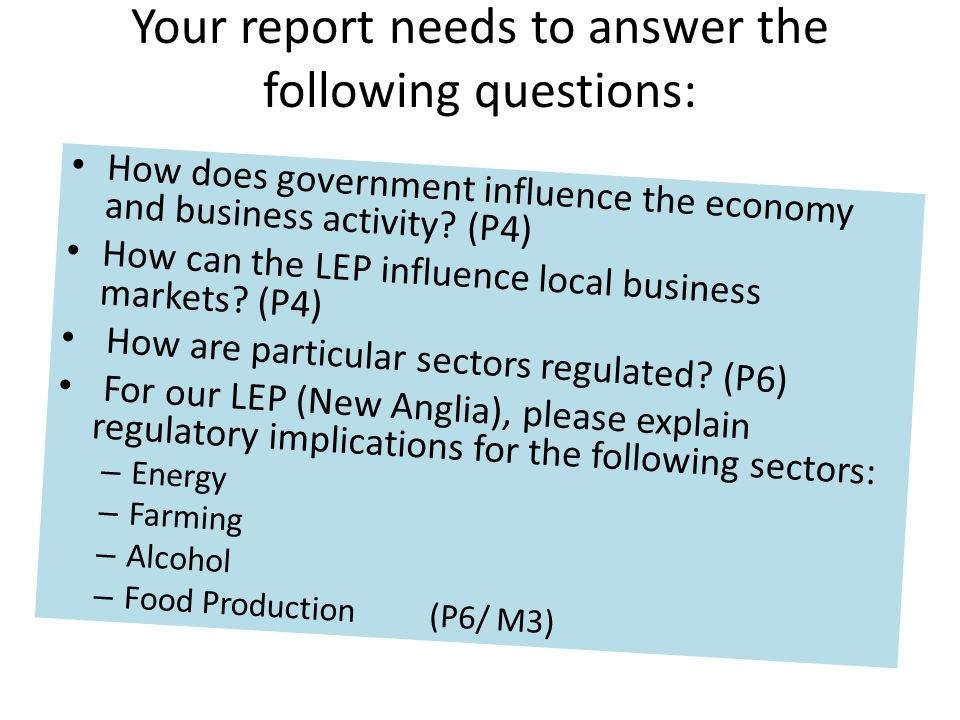 Your report needs to answer the following questions:
