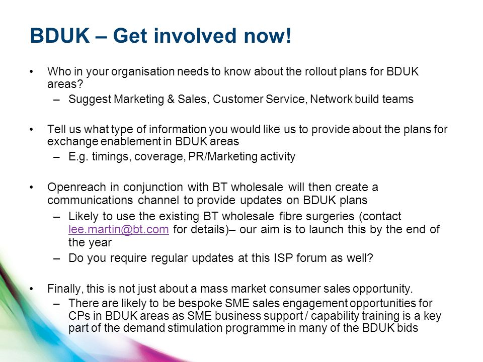 BDUK – Get involved now! Who in your organisation needs to know about the rollout plans for BDUK areas