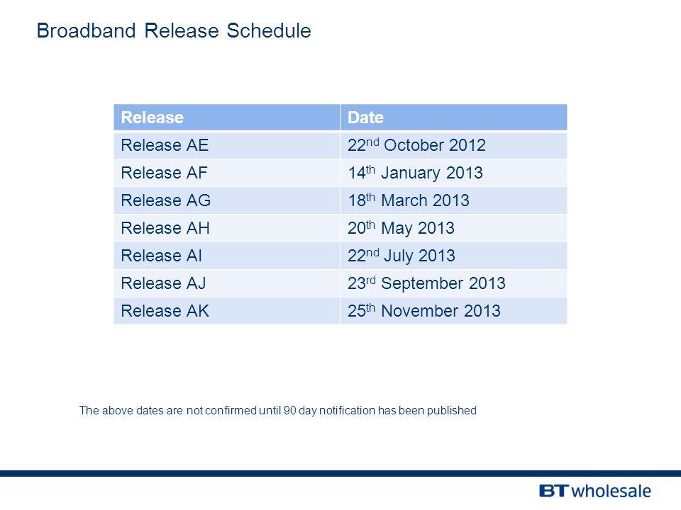 Broadband Release Schedule