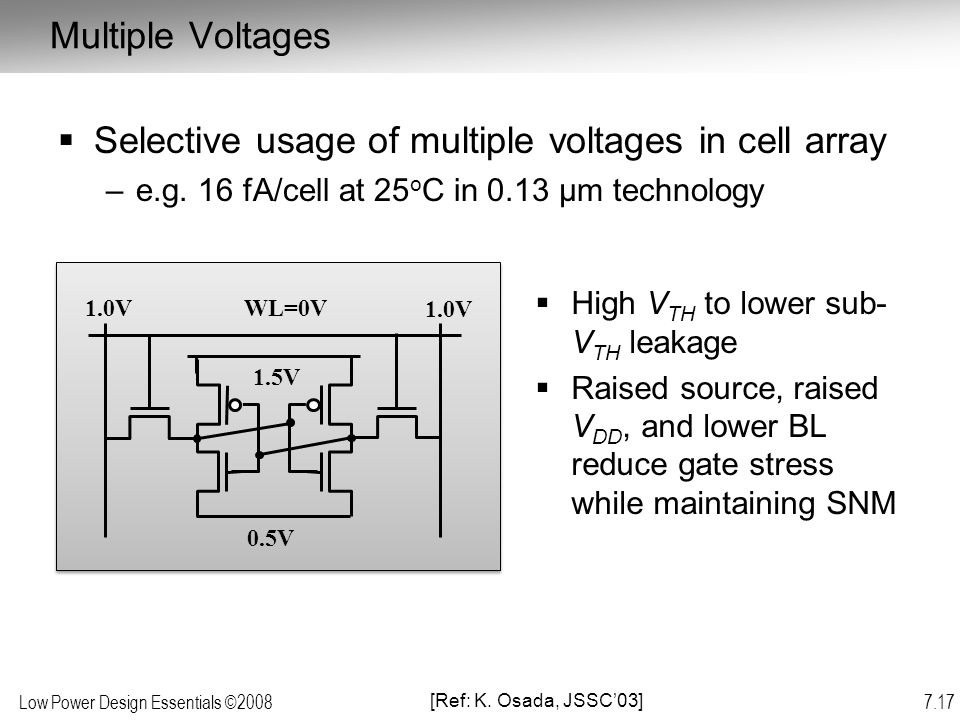 Selective usage of multiple voltages in cell array