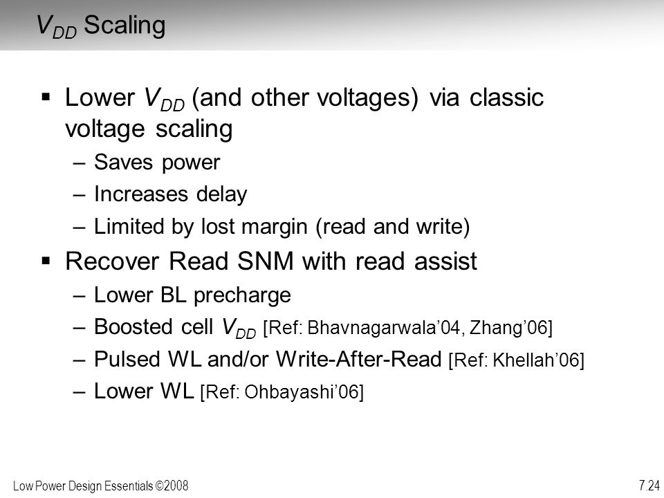 Lower VDD (and other voltages) via classic voltage scaling