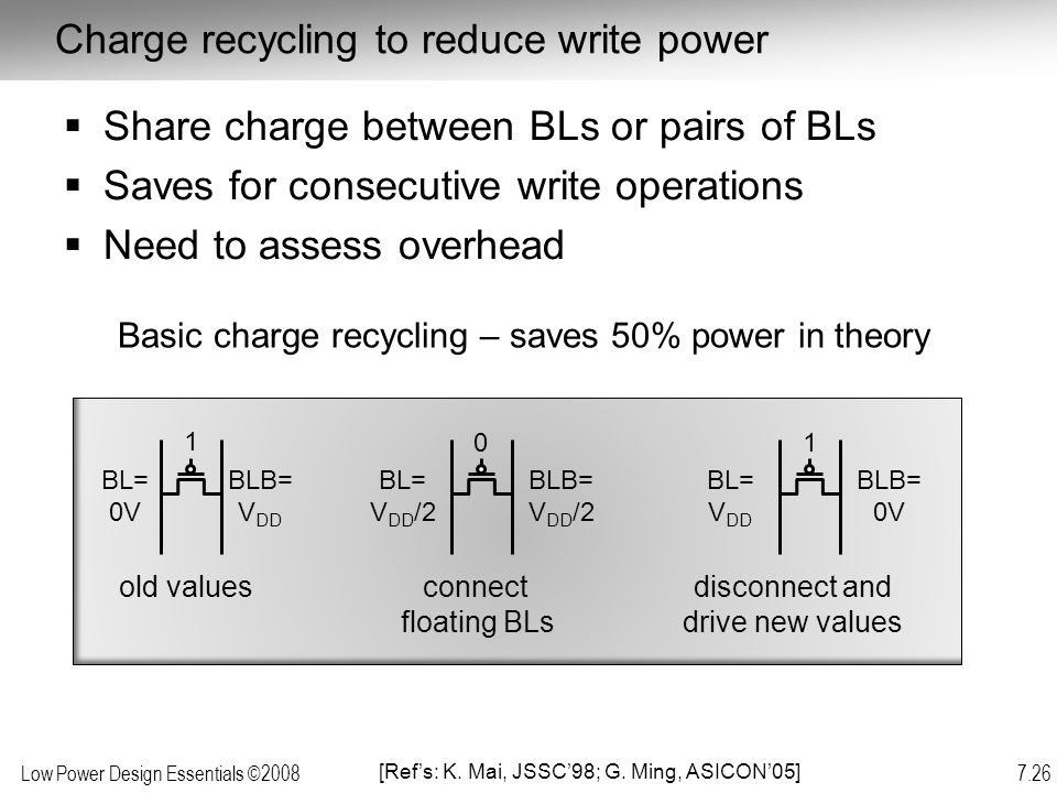Charge recycling to reduce write power
