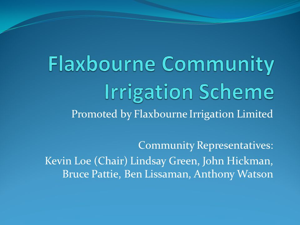 Flaxbourne Community Irrigation Scheme