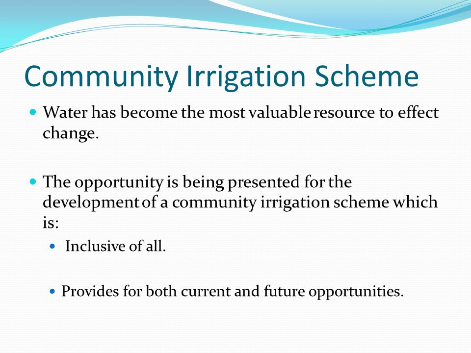 Community Irrigation Scheme
